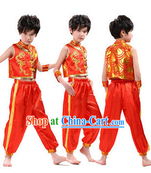 Traditional Chinese Dragon Dancer Uniform for Kids