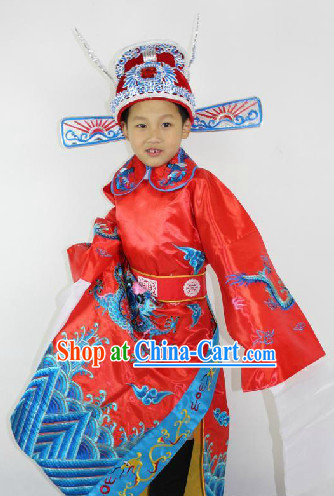 Traditional Chinese Stage Official Costumes and Hat for Children