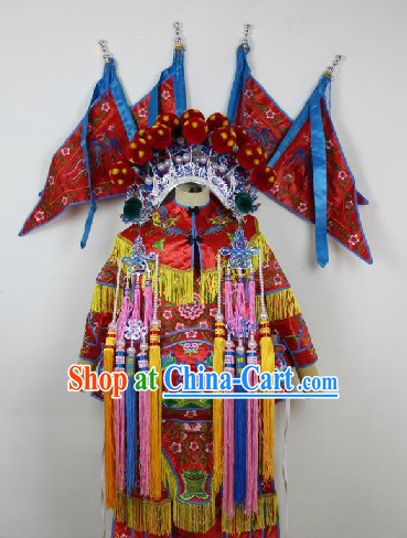Ancient Chinese Beijing Opera Phoenix Costumes and Helmet Complete Set for Kids
