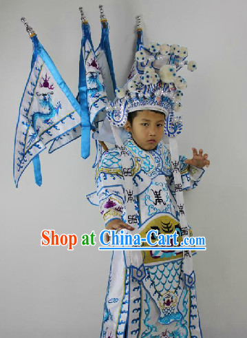 Traditional Chinese Beijing Opera Armor Costumes and Hat Complete Set for Kids