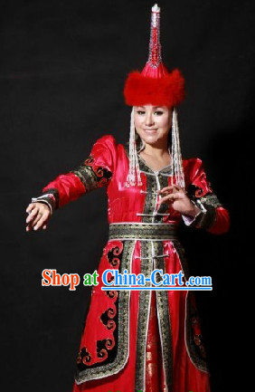 Mongolian Noblewoman Clothes and Hat Complete Set