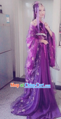 Purple Chinese Empress Cosplay Costumes and Headdress Complete Set