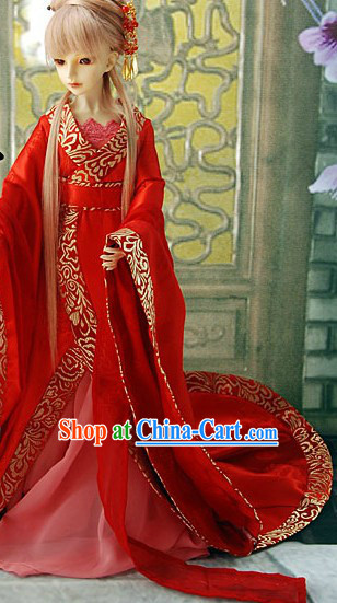 Long Trail Red Bridal Wedding Dress for Women