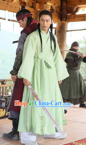 Ancient Korean Palace Costumes and Coronet Complete Set