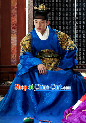 Korean Traditional Palace Emperor Costumes and Hat Complete Set