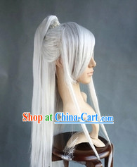 Chinese Young Handsome Men White Long Wig