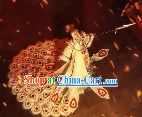 Ancient Chinese White Peacock Princess Costumes and Hair Accessories Complete Set