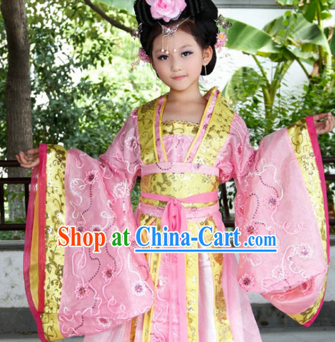 Ancient Chinese Kids Princess Dresses and Headwear Complete Set