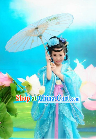Chinese Traditional Dress and Headwear Complete Set for Children