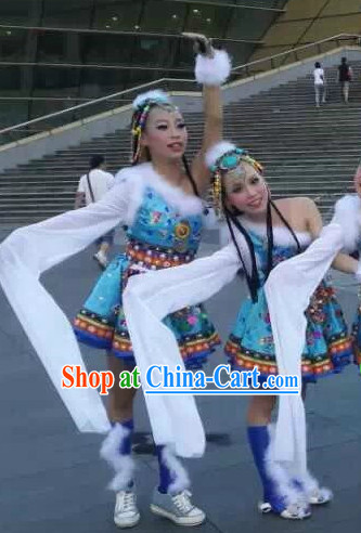 Tibetan Dance Costumes and Headwear Complete Set for Students