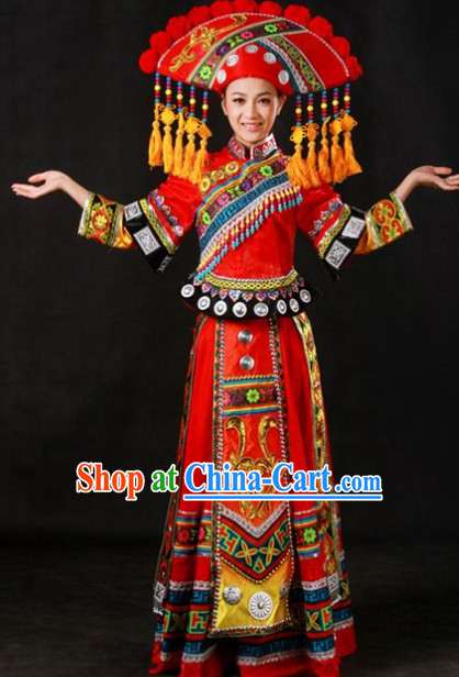 Miao People Wedding Dresses and Hat Complete Set for Brides