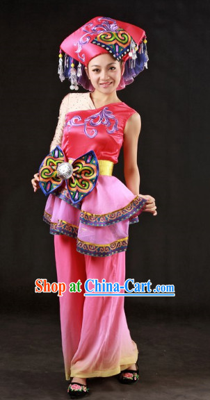 Miao People Dresses and Hat Complete Set for Girls