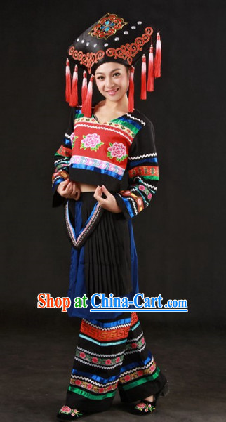 Zhuang Ethnic Minority Clothes and Headgear Complete Set