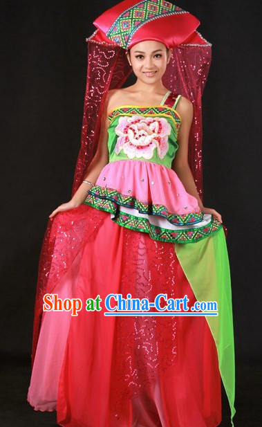 Traditional Chinese Zhuang Stage Performance Costume and Hat Complete Set