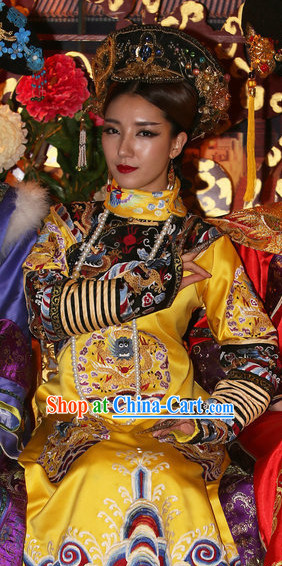 Traditional Qing Empress Costumes and Hat Complete Set