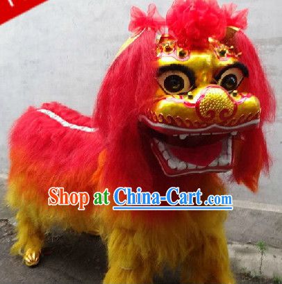 Two People Chinese Beijing Lion Dancing Costumes Complete Set