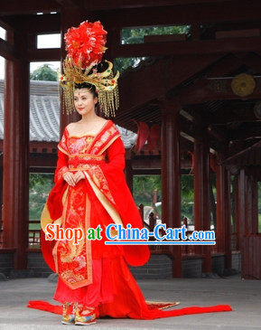 Tang Dynasty Empress Wedding Dress and Hair Accessories Complete Set