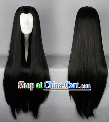 Chinese Classic Black Long Wig for Men