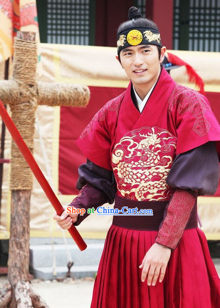 Ancient Korean Imperial Prince Dragon Embroidery Costumes and Headwear Complete Set