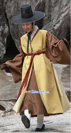 Ancient Korean Handsome Costumes and Hat Complete Set