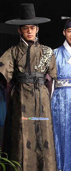 Ancient Korean Top Offiical Costumes and Hat Complete Set