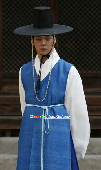 Traditional Korean Male Costumes and Hat Complete Set