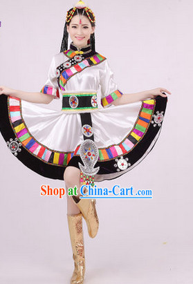 Traditional Tibet Dance Costumes and Headwear for Girls