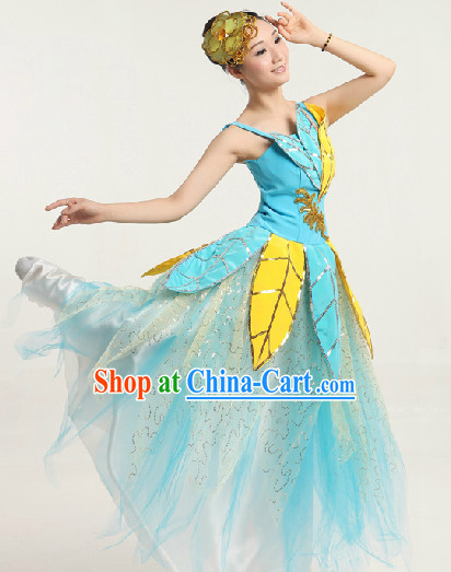 Enchanting Effect Leaf Dance Costumes and Headwear Complete Set for Women
