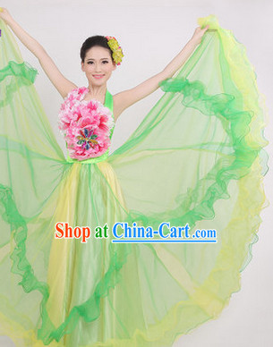 Enchanting Effect Grand Opening Dance Costume and Headwear Complete Set for Women 1