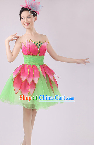 Enchanting Effect Lotus Dance Costume and Headwear Complete Set for Women 1