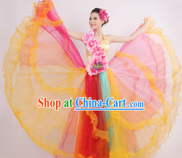 Enchanting Effect Grand Opening Dance Costume and Headwear Complete Set for Women