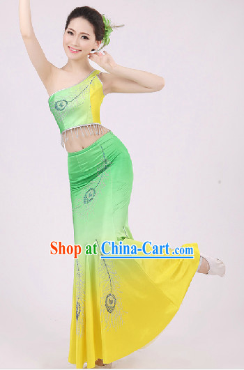 Traditional Chinese Dai Dancing Costumes and Headwear Complete Set for Women