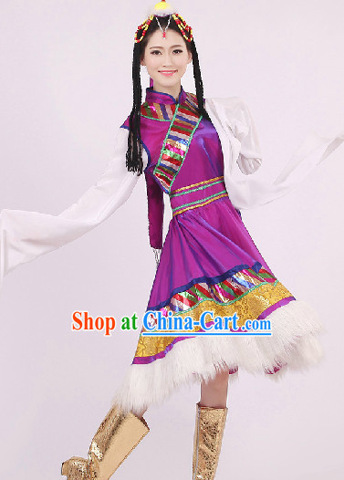 Traditional Chinese Tibetan Dancing Costumes and Headwear Complete Set for Women