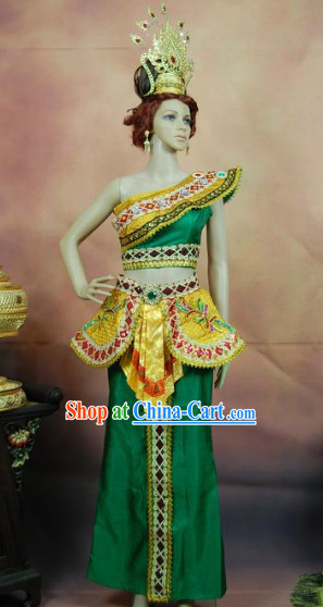 Southeast Asia Traditional Imperial Palace Dance Costumes Complete Set