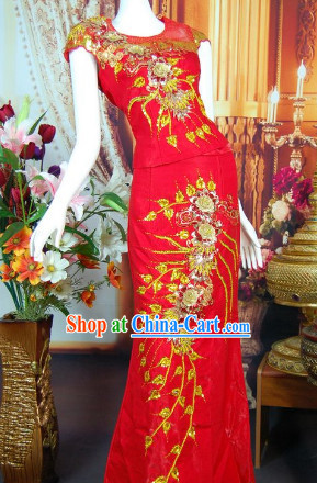 Southeast Asia Traditional Thailand Evening Wedding Dresses for Women