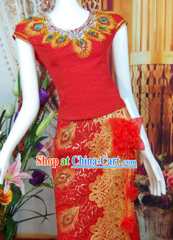 Southeast Asia Traditional Thailand Wedding Dresses for Women