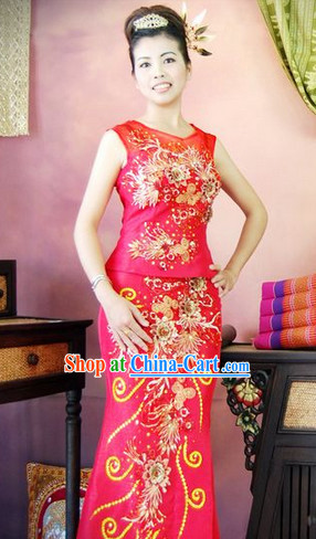 Southeast Asia Traditional Thailand Wedding Outfit for Women