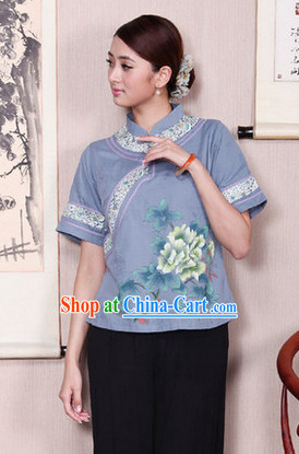 Traditional Chinese Hands Painted Mandarin Shirt for Women