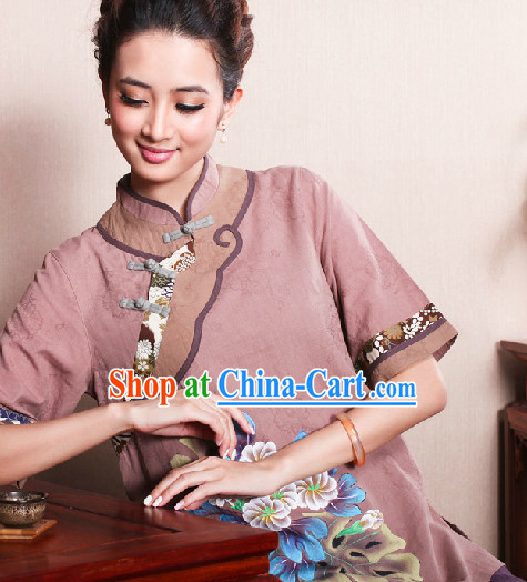 Hands Painted Peony Mandarin Traditional Top for Women