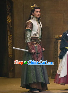 Ancient Chinese King High Shoulder Costumes and Coronet Complete Set