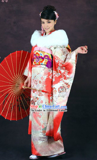 Traditional Japanese Furisode Kimono 16 Pieces Complete Set for Women