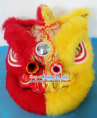 Half Yellow Half Red Supreme Long Wool Hok San Lion Dance Costume Complete Set