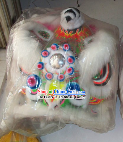 White Wool Traditional Chinese Fut San Lion Dance Costumes Complete Set