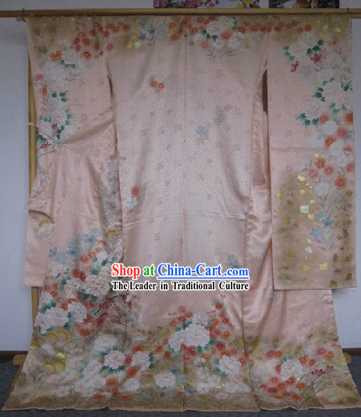 100_ Silk Traditional Japanese Pink Kimono Complete Set for Women