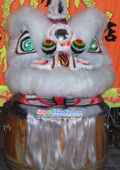 White and Black Ceremonial Hok San Lion Dance Costumes Complete Set