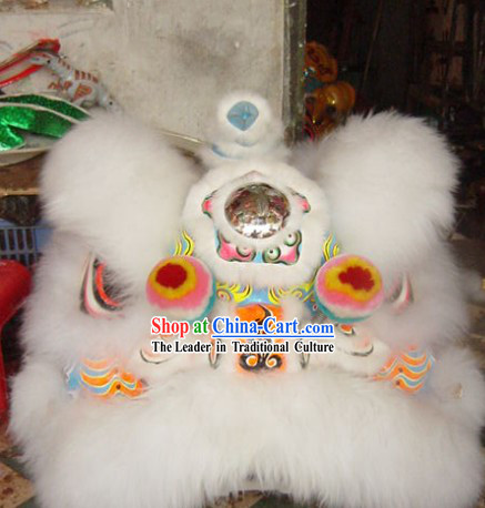 Pure White Wool Supreme Fut San Lion Dance Costumes Complete Set