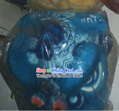 Blue Color Chinese Stage Performance Long Wool Lion Dance Costumes Complete Set