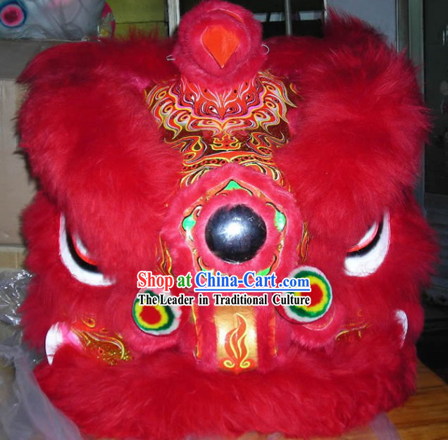 Congratulate on Chinese New Year Red and Gold Top Lion Dance Costumes Complete Set