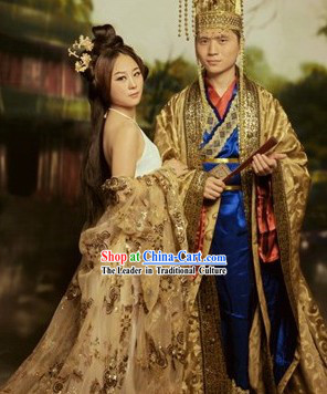 Imperial Palace Emperor and Empress Costumes and Hat for the Couple