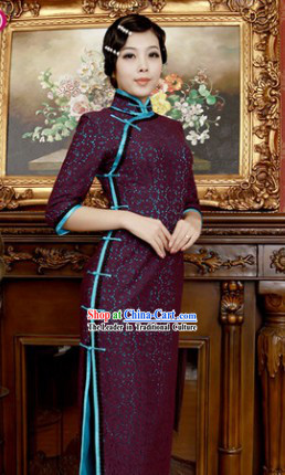 Chinese Classical Long Lace Qipao for Women